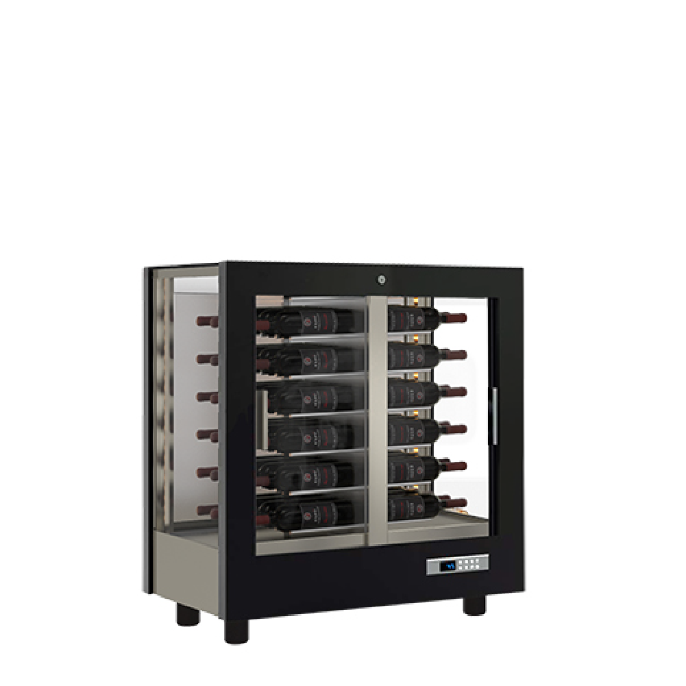 opaque rear refrigerated wine display case